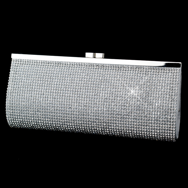 Silver Rhinestone Covered Evening Bag Clutch
