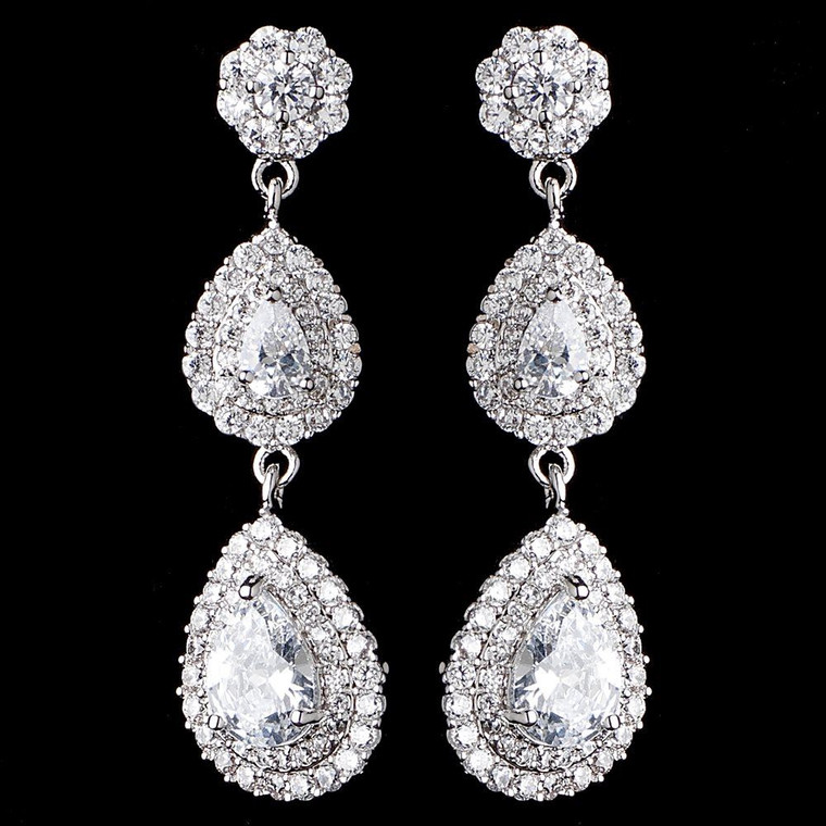 CZ Double Teardrop Dangle Bridal Earrings