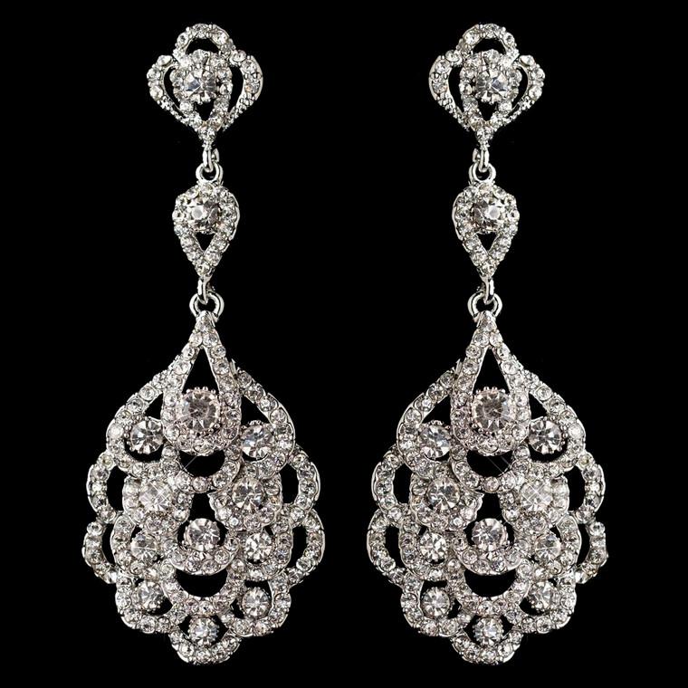 Silver Rhodium Vintage 1920's Inspired Wedding Earrings -Sale!