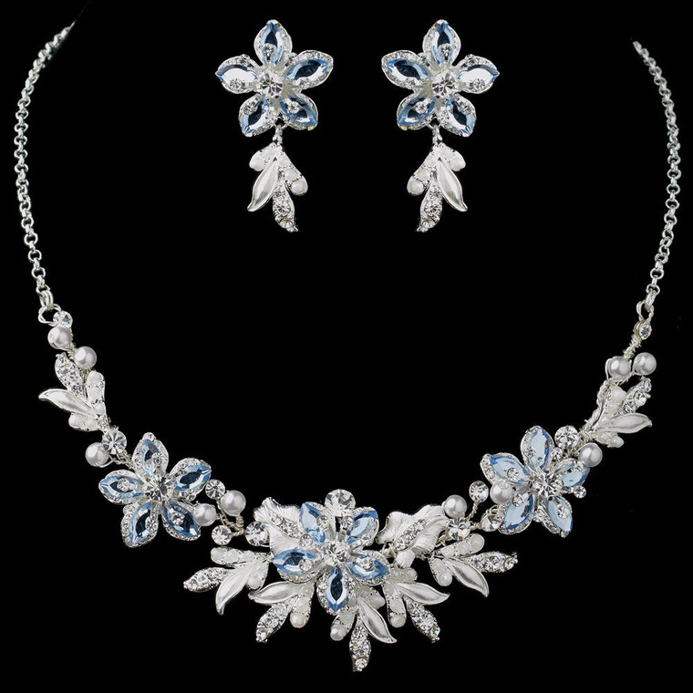 Light Blue Crystal and Pearl Floral Wedding Jewelry Set