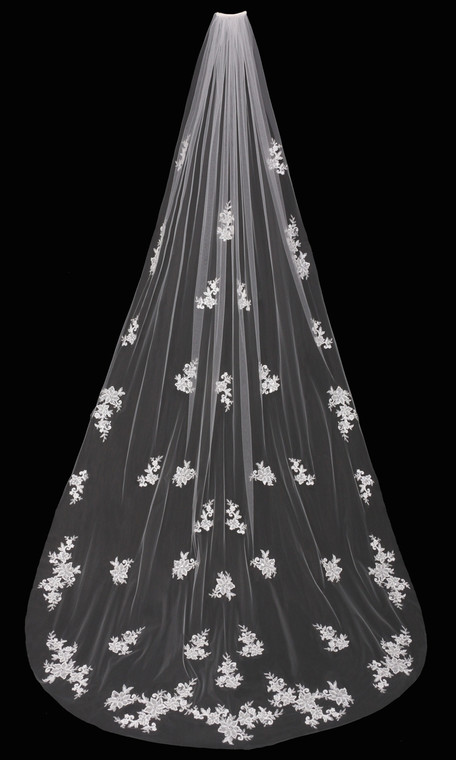 Cathedral Wedding Veil with Beaded Lace Appliques