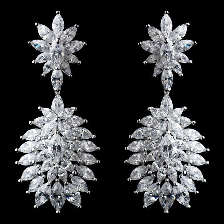Solid 925 Sterling Silver CZ Wedding Earrings