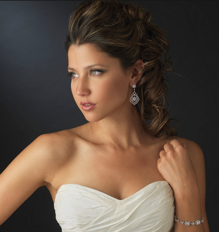 Elegant Silver Plated CZ Earrings and Coordinating Bracelet Set