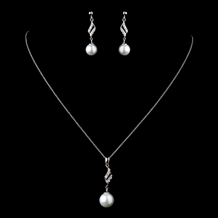 Sterling Silver CZ and Pearl Jewelry Set