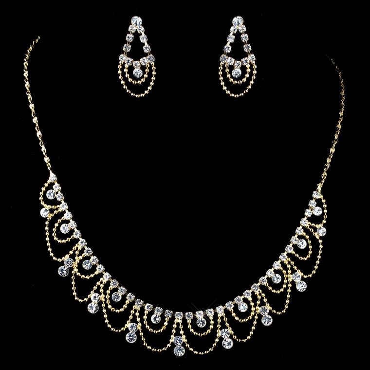 Gold Rhinestone Drape Bridal and Bridesmaid Jewelry Set