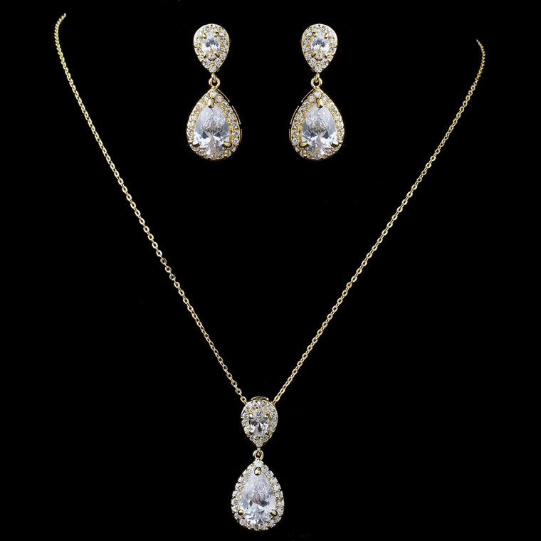 Gold Plated CZ Wedding Necklace and Earrings Jewelry Set
