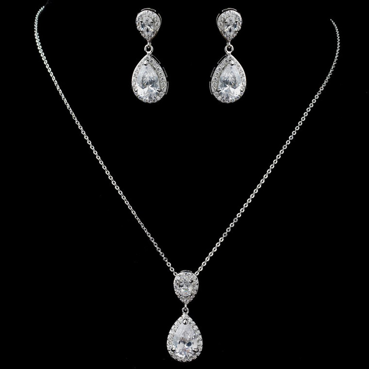 Rhodium Plated CZ Wedding Necklace and Earrings Jewelry Set