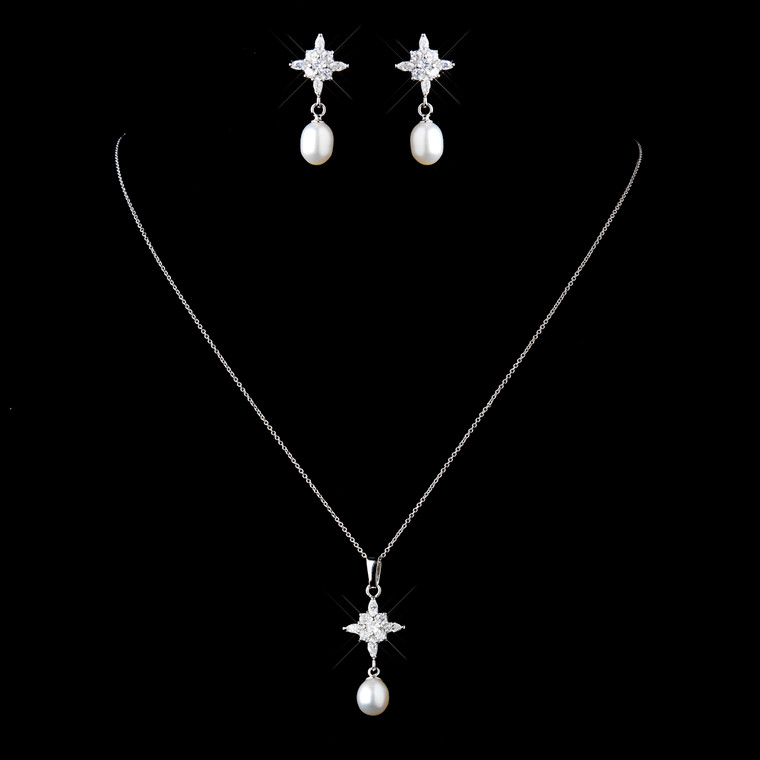 Solid 925 Sterling Silver CZ and Pearl Wedding Jewelry Set