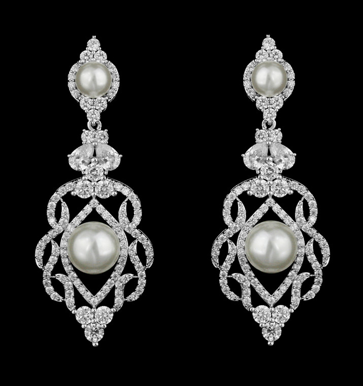 Elegant CZ and Pearl Wedding Earrings in Silver. Gold, or Rose Gold