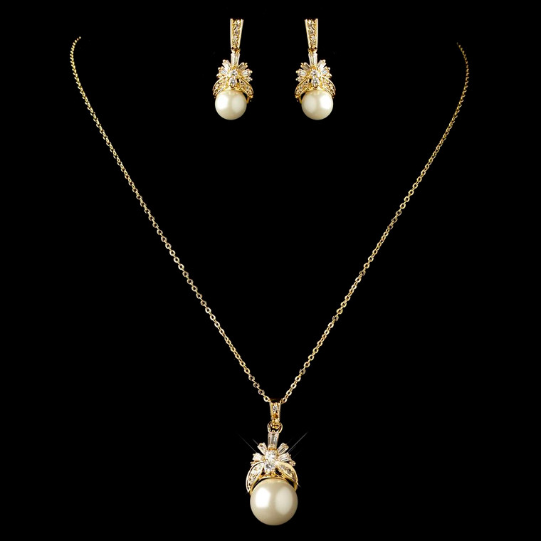 Gold Plated Pearl and CZ pendant Wedding Jewelry Set