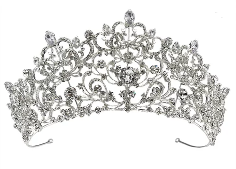 Royal Scroll Silver, Gold, or Rose Gold Crystal Wedding and Quince Tiara