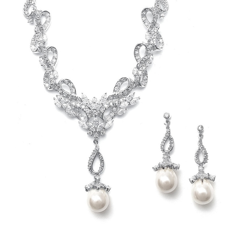 Mariell Pearl and CZ Wedding Jewelry Set 3033S