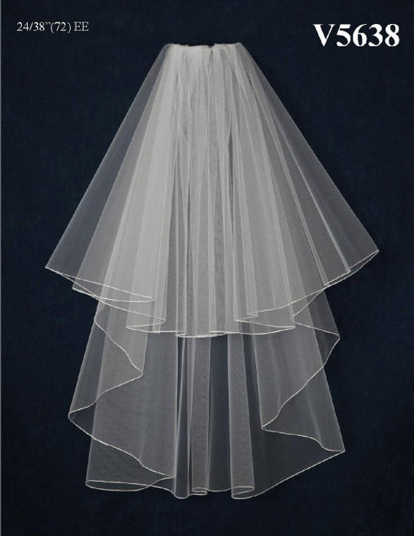 Custom Made Two Layer Fingertip Length Wedding Veil