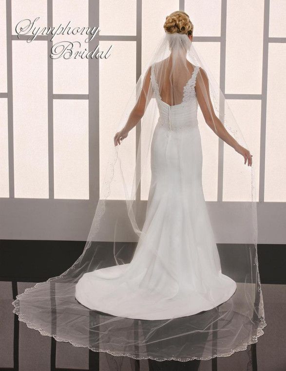 Beaded Embroidery Cathedral Length Wedding Veil Symphony Bridal 6703VL