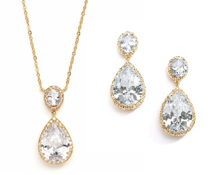 Gold Plated Couture Pear Shaped CZ Pendant and Earrings Jewelry Set