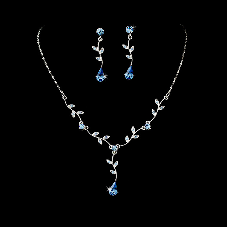 5 Sets Light Blue Floral Bridesmaid Jewelry