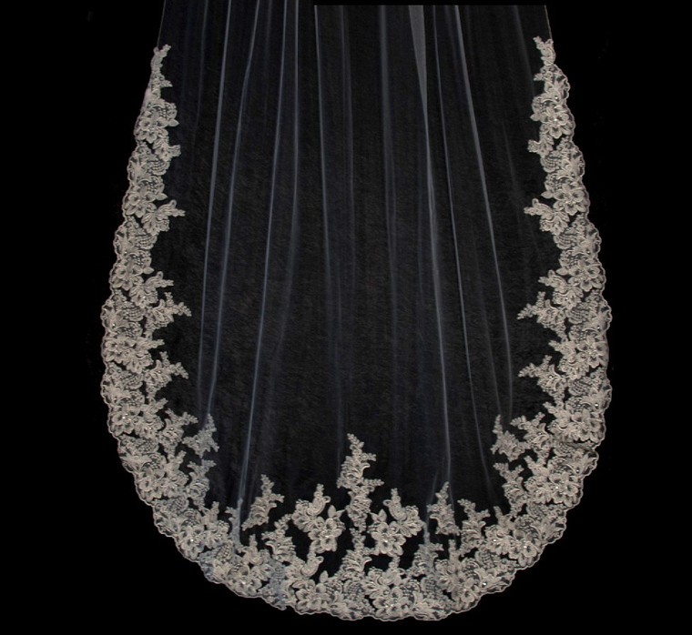 Gold and Pewter Silver Lace Edge Cathedral Wedding Veil C224