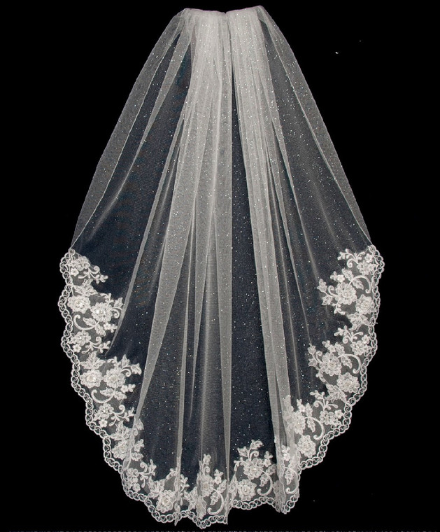 Angel Dust Fingertip Wedding Veil with Beaded Alencon Lace V6337