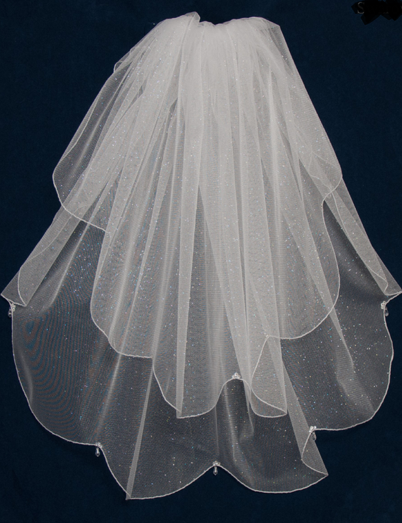Two Layer Angel Dust Wedding Veil with Crystals V6347
