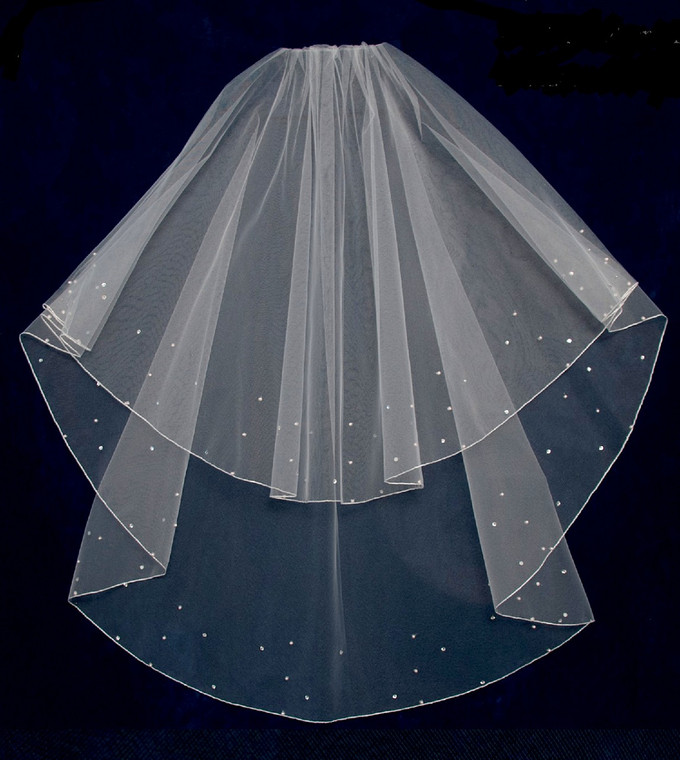 Two Layer Fingertip  Wedding Veil with Pearls and Rhinestones