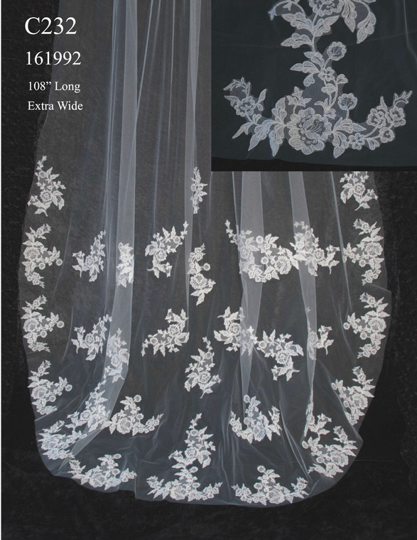 Extra Wide Cathedral Length Wedding Veil with Alencon Lace Appliques