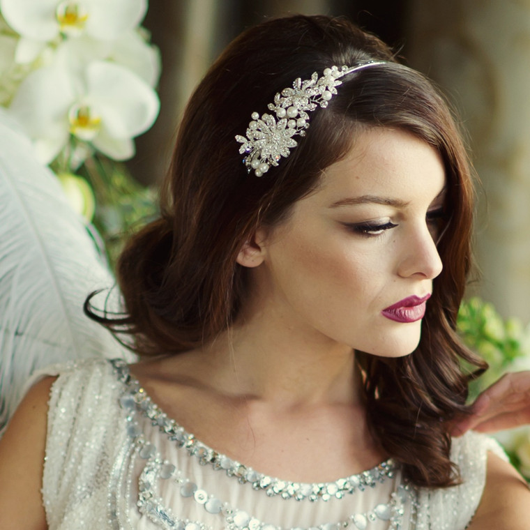 Pearl and Crystal Bridal Headband in Silver, 14K Gold or Rose Gold