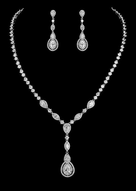 Vintage Look CZ Drop Bridal Jewelry Set - Silver, Gold, or Rose Gold