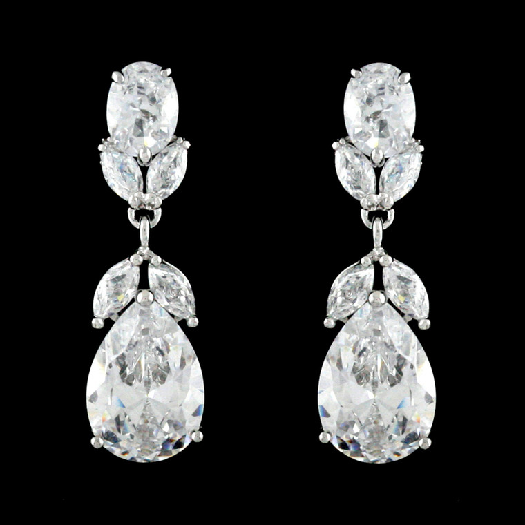 Cubic Zirconia Drop Wedding Earrings EEA206 - Pierced or Clip On