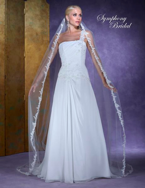 Cathedral Length Wedding Veil Symphony Bridal 6130VL with Lace Edge