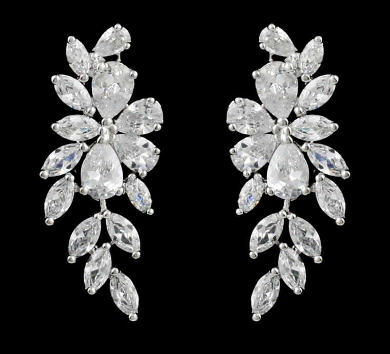Floral CZ Drop Clip On Wedding Earrings - Silver, Gold or Rose Gold