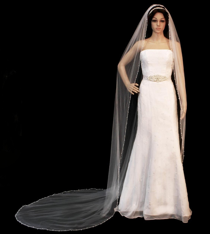 Pearl and Crystal Beaded Cathedral Length Wedding Veil V3072C