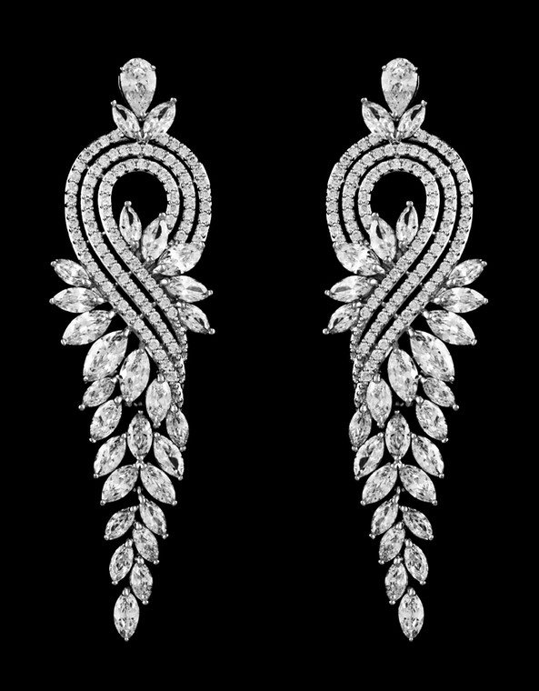 Glamorous Cubic Zirconia Drop Wedding and Pageant Earrings