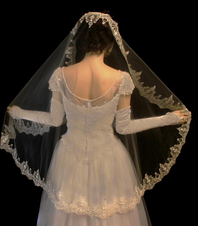 French Lace Full Mantilla Fingertip Length Wedding Veil