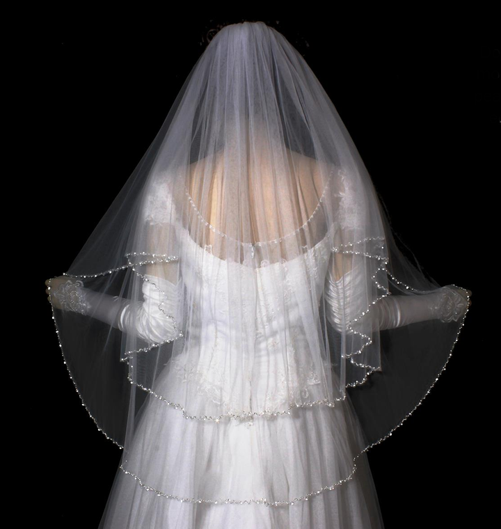 Two Layer Pearl and Crystal Beaded Fingertip Length Wedding Veil