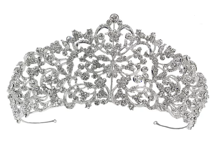 "2 1/2"" Tall Silver, Gold or Rose Gold Scroll Wedding and Quince Tiara"