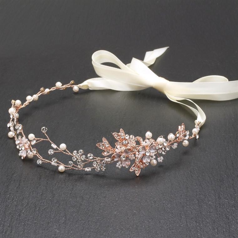 Rose Gold Handmade Bridal Headband with Painted Vines