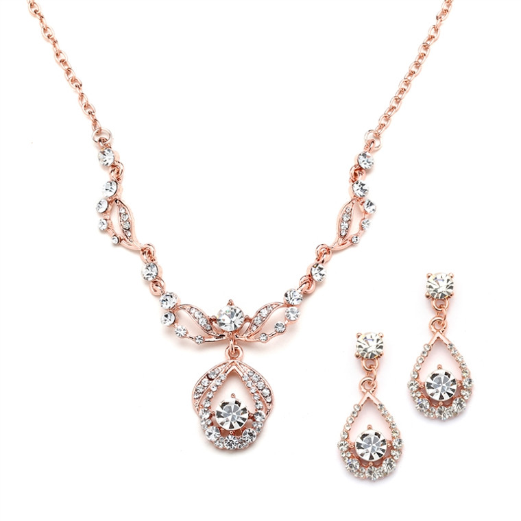 Rose Gold Plated Crystal Bridal Jewelry Set
