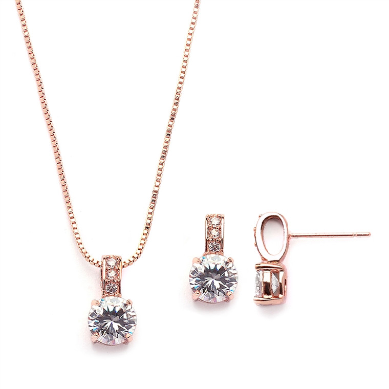 3 Sets Delicate Rose Gold CZ Bridesmaid Jewelry