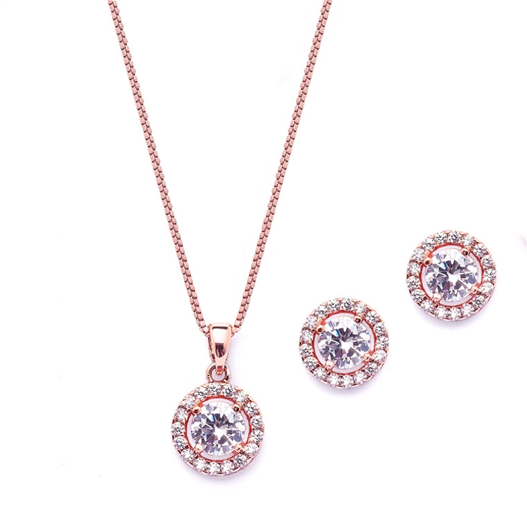 5 Sets Halo CZ Rose Gold Plated  Bridesmaid Jewelry