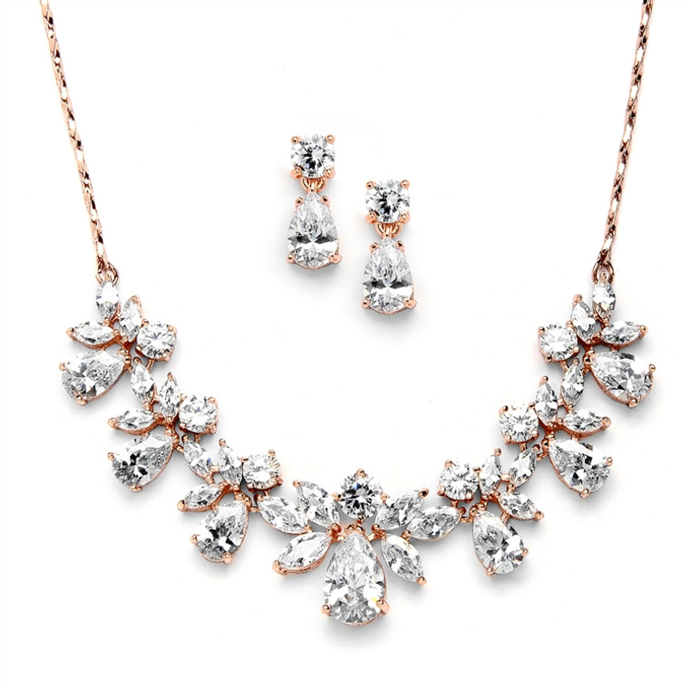 Rose Gold Plated CZ Bridal Jewelry Set