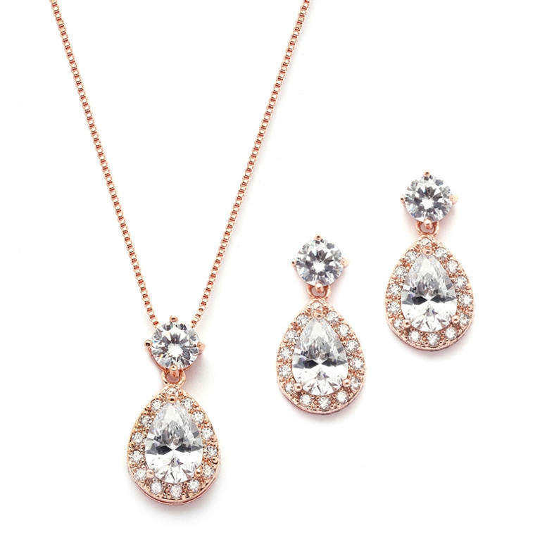 Rose Gold Plated CZ Halo Bridal Jewelry Set