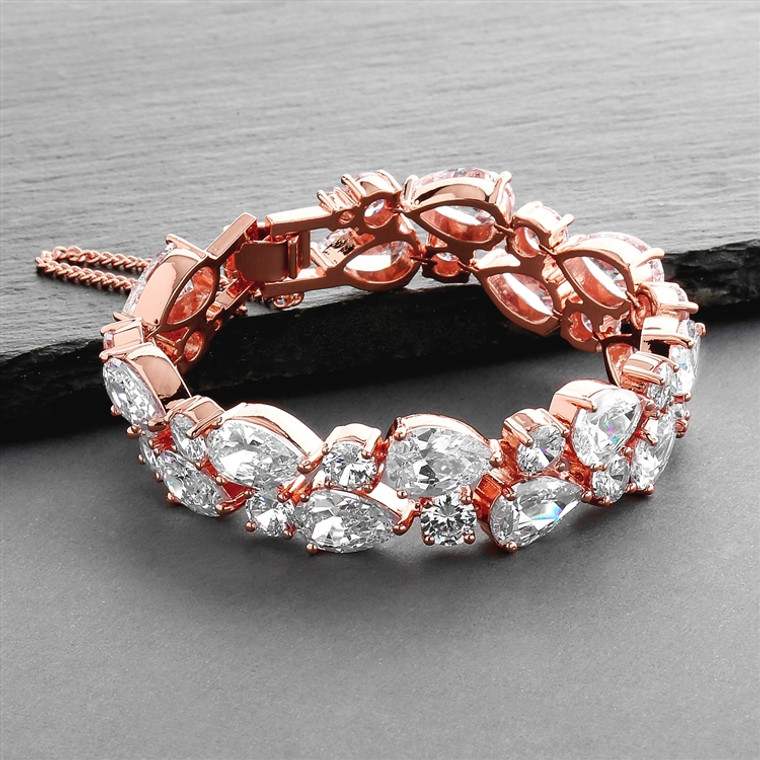 Rose Gold Plated Bold CZ Pears and Rounds Wedding Bracelet