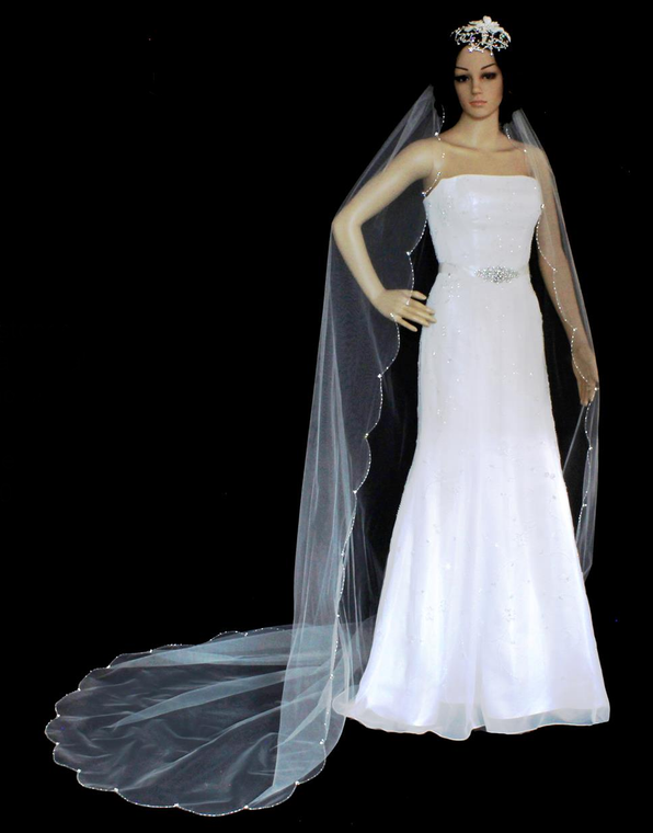 Scallop Beaded Edge Cathedral Length Wedding Veil V3044C