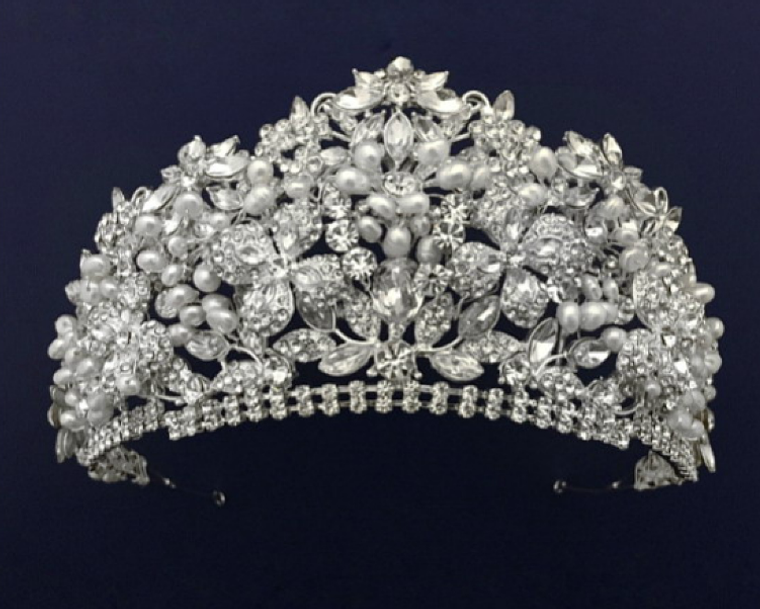 """Stunning 3"""" Tall Pearl and Crystal Quinceanera and Wedding Tiara"""