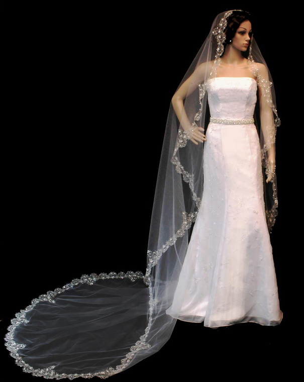 Beaded Silver Embroidery Cathedral Length Wedding Veil