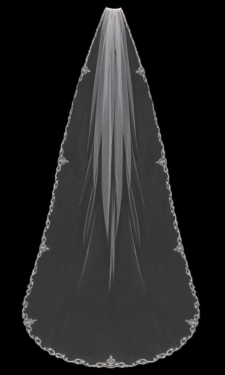 Cathedral  Wedding Veil with Beaded Silver Embroidery V1794C