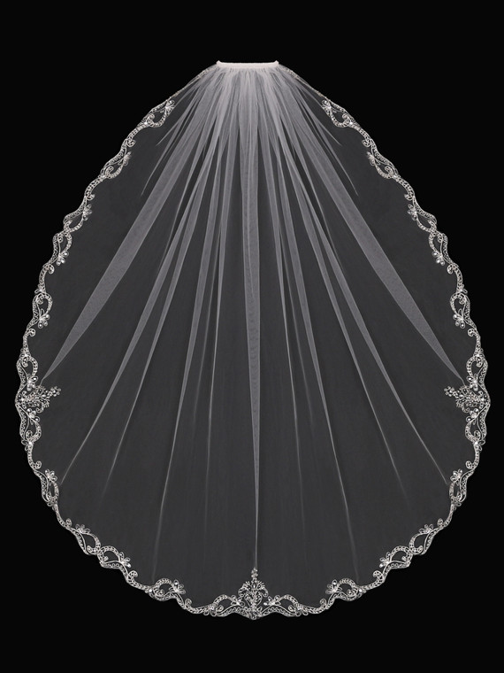 Fingertip Wedding Veil with Beaded Silver Embroidery V1794SF