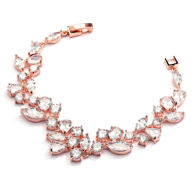 Mosaic CZ Wedding Bracelet in 14K Rose Gold  - Petite Size
