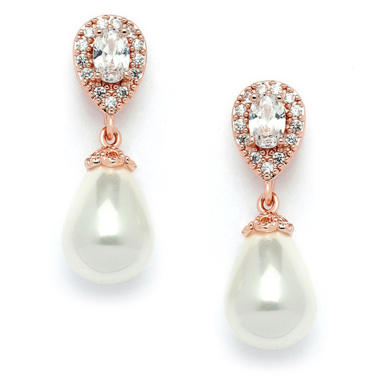 Rose Gold CZ and Pearl Drop Wedding Earrings in Pierced or Clip On