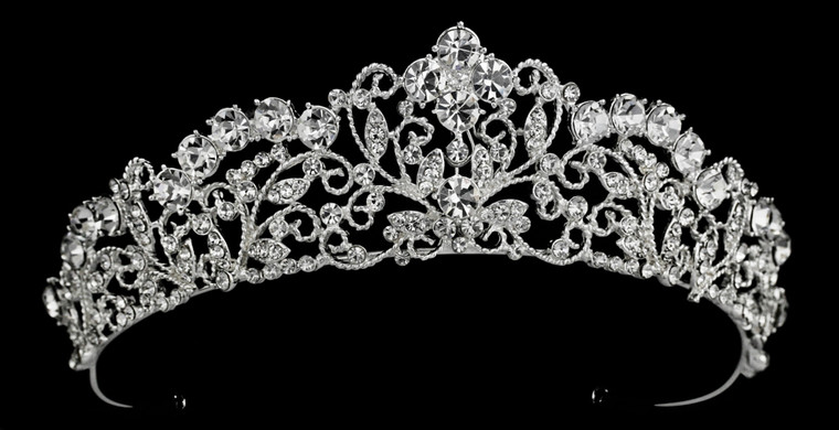 Vintage Scroll  Bridal and Quinceanera Tiara in Silver. Gold, Rose Gold